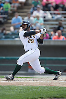 Nellie Rodriguez (25) of the Lynchburg Hillcats follows through on his swing against the Frederick Keys at Calvin Falwell Field at Lynchburg City Stadium on May 14, 2015 in Lynchburg, Virginia.  The Hillcats defeated the Keys 6-3.  (Brian Westerholt/Four Seam Images)