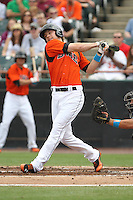 Bowie Baysox designated hitter Brandon Waring bats during a game against the New Hampshire Fisher Cats at Prince George's Stadium on June 17, 2012 in Bowie, Maryland. New Hampshire defeated Bowie 4-3 in 13 innings. (Brace Hemmelgarn/Four Seam Images)