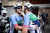 race winner Thomas Boudat (FRA/Total Direct Energie) felicitated by team mate. <br /> <br /> Circuit de Wallonie 2019<br /> One Day Race: Charleroi – Charleroi 192.2km (UCI 1.1.)<br /> Bingoal Cycling Cup 2019