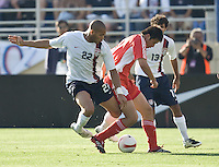 Oguchi Onyewu battles for the ball. The USA defeated China, 4-1, in an international friendly at Spartan Stadium, San Jose, CA on June 2, 2007.