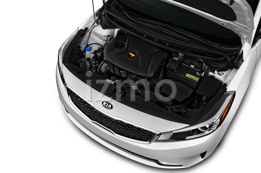 Car Stock 2018 KIA Forte EX-AT 4 Door Sedan Engine  high angle detail view