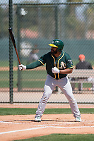 Oakland Athletics outfielder Logan Farrar (7) during a Minor League Spring Training game against the San Francisco Giants at Lew Wolff Training Complex on March 26, 2018 in Mesa, Arizona. (Zachary Lucy/Four Seam Images)