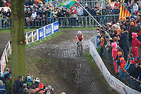 Marianne Vos (NLD) soloing to her 7th CX World Title<br /> <br /> 2014 UCI cyclo-cross World Championships, Elite Women