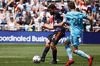 ST PAUL, MN - JULY 18: Joao Paulo #6 of the Seattle Sounders FC and Wil Trapp #20 of Minnesota United FC battle during a game between Seattle Sounders FC and Minnesota United FC at Allianz Field on July 18, 2021 in St Paul, Minnesota.