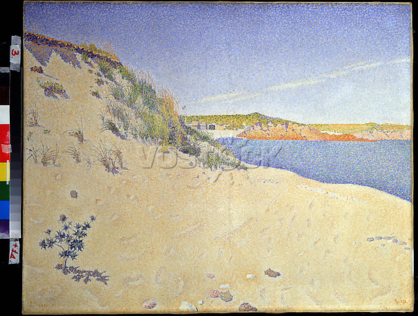 The Beach at Saint-Briac. Op. 212 (Sandy seashore)<br /> Artist:Signac, Paul(1863-1935)<br /> Museum:State A. Pushkin Museum of Fine Arts, Moscow<br /> Method:Oil on canvas<br /> Created:1890<br /> School:France<br /> Category:Landscape<br /> Trend in art:Postimpressionism