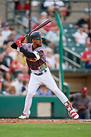 Rochester Red Wings center fielder Byron Buxton (25) at bat during a game against the Lehigh Valley IronPigs on June 29, 2018 at Frontier Field in Rochester, New York.  Lehigh Valley defeated Rochester 2-1.  (Mike Janes/Four Seam Images)