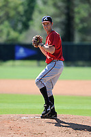 Pitcher Ryan Weber (2) of the Atlanta Braves farm system in a Minor League Spring Training workout on Monday, March 16, 2015, at the ESPN Wide World of Sports Complex in Lake Buena Vista, Florida. (Tom Priddy/Four Seam Images)