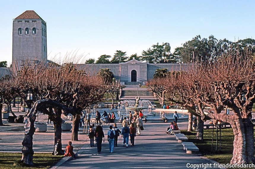 San Francisco: Golden Gate Park near Band Shell. DeYoung Museum in background.  Photo '83.