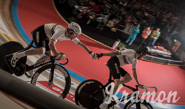 Madison World Champions Mark Cavendish (GBR/Dimension Data) & Sir Bradley Wiggins (GBR/Wiggins) handslingin'<br /> <br /> 2016 Gent 6<br /> day 2