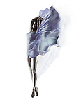 Artistic surreal image of a beautiful naked woman with flowing blue translucent cloth wrapping her nude body and fluttering like wings isolated on white background Image © MaximImages, License at https://www.maximimages.com