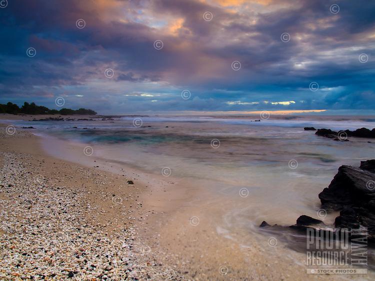 Pine Trees Beach at sunset on the Big Island.