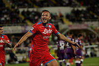 3rd October 2021; Franchi Stadium, Florence, Italy; Serie A football, Fiorentina versus Napoli : Amir Rrhamani of Napoli  celebrates after scoring for  2 -1- in  50th minute