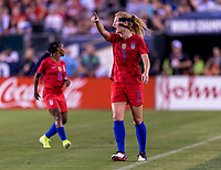 PHILADELPHIA, PA - AUGUST 29: Sam Mewis #3 of the United States yells at the referee during a game between Portugal and the USWNT at Lincoln Financial Field on August 29, 2019 in Philadelphia, PA.