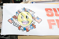A sign shows the logo of Super Happy Fun America, the organizers of the Straight Pride Parade in Boston, Massachusetts, on Sat., August 31, 2019.