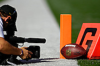 21 October 2007: A cameraman shoot a propped setting of a football, and the goal markers prior to a game between the Buffalo Bills and the Baltimore Ravens at Ralph Wilson Stadium in Orchard Park, NY. The Bills defeated the Ravens 19-14 in front of 70,727 fans marking their second win of the 2007 season...Mandatory Photo Credit: Ed Wolfstein Photo