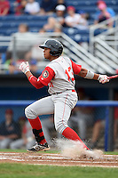 Brooklyn Cyclones third baseman Jhoan Urena (13) at bat during a game against the Batavia Muckdogs on August 11, 2014 at Dwyer Stadium in Batavia, New York.  Batavia defeated Brooklyn 4-3.  (Mike Janes/Four Seam Images)