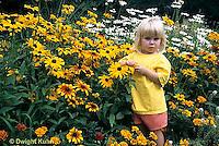 FA35-001z  Child in flower garden
