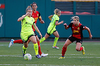 Rochester, NY - Saturday July 09, 2016: Seattle Reign FC midfielder Kim Little (8), Western New York Flash midfielder McCall Zerboni (7) during a regular season National Women's Soccer League (NWSL) match between the Western New York Flash and the Seattle Reign FC at Frontier Field.