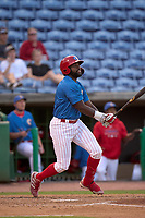 Clearwater Threshers D.J. Stewart (12) bats during a game against the Dunedin Blue Jays on May 18, 2021 at BayCare Ballpark in Clearwater, Florida.  (Mike Janes/Four Seam Images)