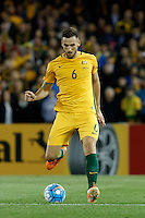 October 11, 2016: MATTHEW SPIRANOVIC (6) of Australia kicks the ball during a 3rd round Group B World Cup 2018 qualification match between Australia and Japan at the Docklands Stadium in Melbourne, Australia. Photo Sydney Low Please visit zumapress.com for editorial licensing. *This image is NOT FOR SALE via this web site.