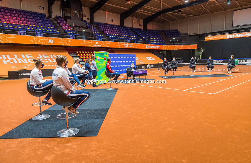 Den Bosch, The Netherlands, April 15, 2021,    Maaspoort, Billy Jean King Cup  Netherlands -  China : Draw ,  Dutch team foreground<br /> Photo: Tennisimages/Henk Koster