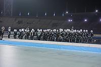 SCHAATSEN: AMSTERDAM: Olympisch Stadion, 09-03-2018, WK Allround, Coolste Baan van Nederland, Drum- en Showfanfare Advendo Sneek, ©foto Martin de Jong