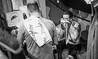 Sir Bradley Wiggins (GBR/Wiggins) with a Wiggo-peek-a-boo<br /> <br /> <br /> 2016 Gent 6<br /> day 4