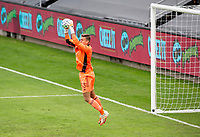 LOS ANGELES, CA - OCTOBER 25: Jonathan Klinsmann #33 goalkeeper of the Los Angeles Galaxy leaps high for a ball during a game between Los Angeles Galaxy and Los Angeles FC at Banc of California Stadium on October 25, 2020 in Los Angeles, California.