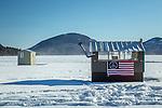Ice fishing houses on Eagle Lake in Acadia National Park, Maine, USA