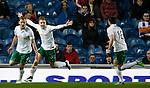 Scott Robertson, Jason Cummings and Lewis Stevenson celebrate after the opening goal