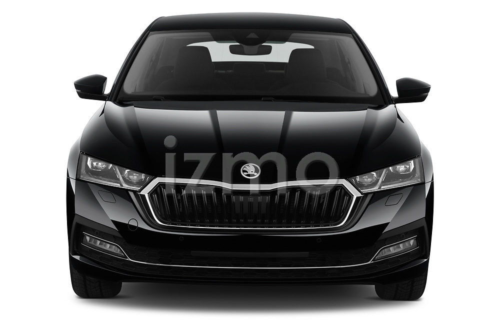 Car photography straight front view of a 2020 Skoda Octavia Style 5 Door Hatchback Front View