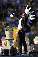 Carlinhos Brown performs during the closing ceremony