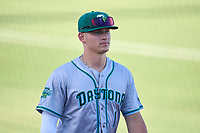 Daytona Tortugas outfielder Austin Hendrick (1) during warmups before a game against the Palm Beach Cardinals on May 4, 2021 at Roger Dean Chevrolet Stadium in Jupiter, Florida.  (Mike Janes/Four Seam Images)