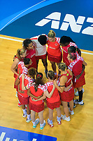The England team huddle during the Cadbury Netball Series Taini Jamison Trophy match between New Zealand Silver Ferns and England Roses at Claudelands Arena in Hamilton, New Zealand on Wednesday, 28 October 2020. Photo: Dave Lintott / lintottphoto.co.nz