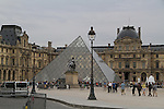 The glass pyramid entry to the Louvre Museum in Paris, France.