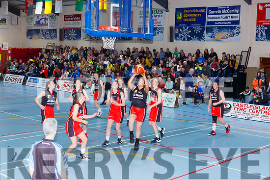Action from the Girls U16 final at the St Marys 50th Basketball blitz on Monday
