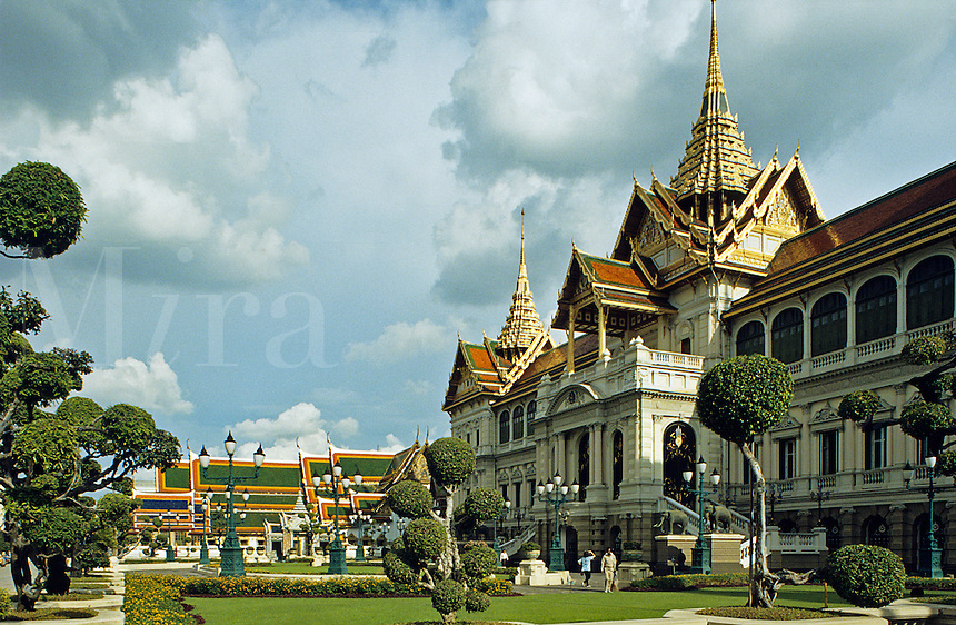 Bangkok. Royal Palace and Wat Phra Keo or Temple of the Emerald Buddha. Thailand..