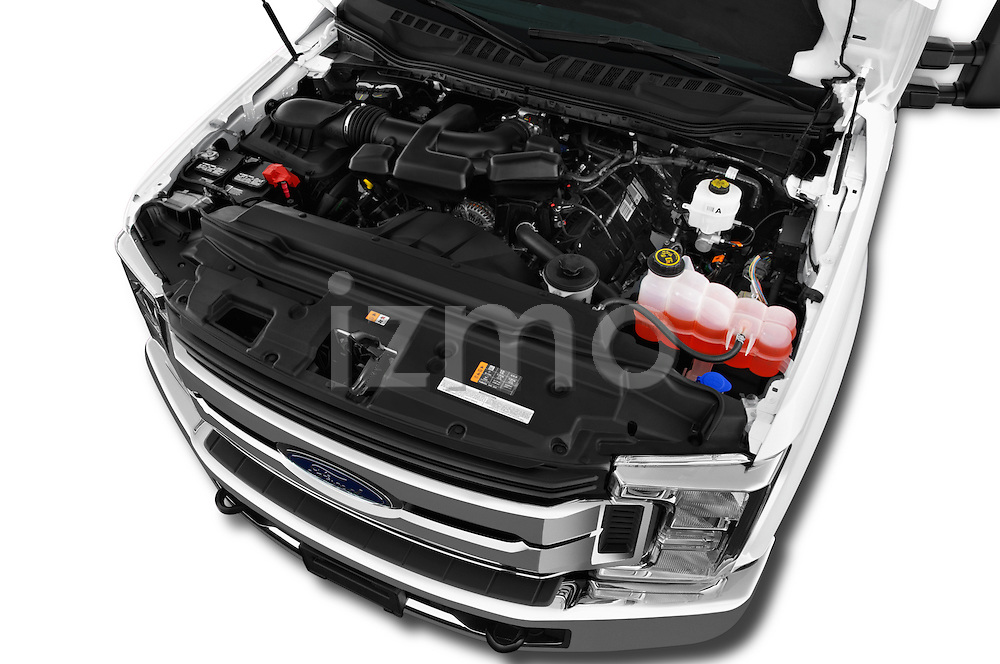 Car Stock 2017 Ford F-250 XLT-SuperCab 4 Door Pickup Engine  high angle detail view
