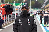 30th August 2020, Spa Francorhamps, Belgium, F1 Grand Prix of Belgium , Race Day;  44 Lewis Hamilton GBR, Mercedes-AMG Petronas Formula One Team arrives at trackside