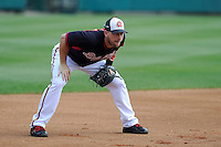 Infielder Chris Johnson (23) of the Atlanta Braves works out before a Spring Training game against the New York Yankees on Wednesday, March 18, 2015, at Champion Stadium at the ESPN Wide World of Sports Complex in Lake Buena Vista, Florida. The Yankees won, 12-5. (Tom Priddy/Four Seam Images)