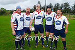 Five members of the Golden Oldies rugby team team from California who played the Tralee Rugby Club Golden Oldies in O'Dowd Park on Thursday. L to r: Gerry Gordon, Tyler Ahlborn, Chris Moenig, Matt Eshoo and Brendan Dobl