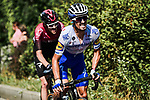 Julian Alaphilippe (FRA) Deceuninck-Quick Step and Pavel Sivakov (RUS) Team Ineos out front during Stage 5 of Criterium du Dauphine 2020, running 153.5km from Megeve to Megeve, France. 16th August 2020.<br /> Picture: ASO/Alex Broadway | Cyclefile<br /> All photos usage must carry mandatory copyright credit (© Cyclefile | ASO/Alex Broadway)
