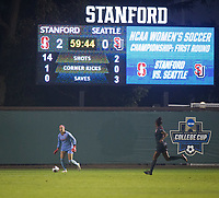 STANFORD, CA - November 9, 2018: Alison Jahansouz, Naomi Girma at Laird Q. Cagan Stadium. The top seeded Stanford Cardinal defeated the Seattle Redhawks 3-0 in the opening round of the NCAA tournament.