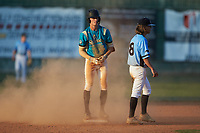 Justin Fox (2) (Erskine College) of the Mooresville Spinners stands on second base during the game against the Dry Pond Blue Sox at Moor Park on July 2, 2020 in Mooresville, NC.  The Spinners defeated the Blue Sox 9-4. (Brian Westerholt/Four Seam Images)