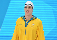 August 01, 2012..Mitch Larkin, arrives to compete in Men's 200m Backstroke Semifinal at the Aquatics Center on day five of 2012 Olympic Games in London, United Kingdom.