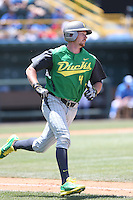 Kyle Garlick #4 of the Oregon Ducks runs to first base during a game against the UCLA Bruins at Jackie Robinson Stadium on May 18, 2014 in Los Angeles, California. Oregon defeated UCLA, 5-4. (Larry Goren/Four Seam Images)