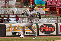 Beloit Snappers infielder Jesus Lopez (7) races home during a Midwest League game against the Wisconsin Timber Rattlers on April 10th, 2016 at Fox Cities Stadium in Appleton, Wisconsin.  Wisconsin defeated Beloit  4-2. (Brad Krause/Four Seam Images)