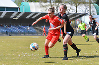 Selina Gijsbrechts (11) of Woluwe and Lotte De Wilde (19) of Zulte-Waregem  pictured during a female soccer game between FC Femina White Star Woluwe and SV Zulte Waregem on the fifth matchday of play off 2 in the 2020 - 2021 season of Belgian Scooore Womens Super League , Saturday 8 th of May 2021  in Woluwe , Belgium . PHOTO SPORTPIX.BE | SPP | DAVID CATRY