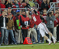 STANFORD, CA - November 6, 2010: Ryan Whalen attempts a catch during a 42-17 Stanford win over the University of Arizona, in Stanford, California.