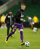 23rd May 2021; HBF Park, Perth, Western Australia, Australia; A League Football, Perth Glory versus Macarthur; Andy Keogh of Perth Glory warms up before the start of the match against Macarthur
